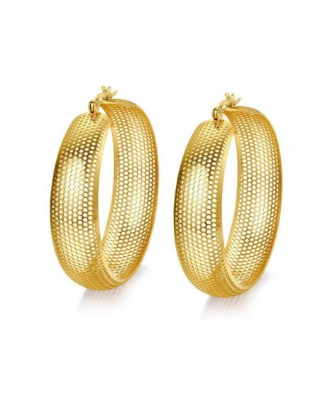 MG Jewelry Stainless Steel Real Gold Plated 13mm Wide Mesh Click-Top Hoop Earring for Women - CV127X9EFNP