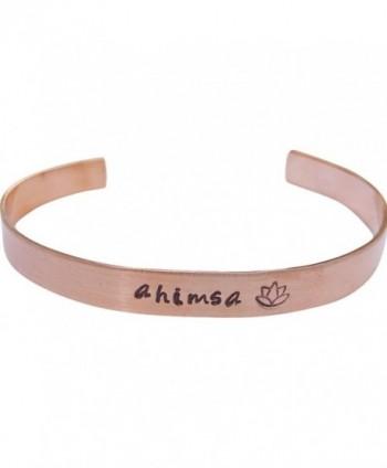 "Ahimsa Lotus Cuff Bracelet Hand Stamped Mantra Yoga Jewelry 1/4"" copper - CG17YQL7G50"