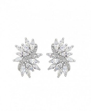 EVER FAITH Women's 925 Sterling Silver CZ Gorgeous Bridal Floral Leaf Pierced Stud Earrings Clear - CB12NH20KE1