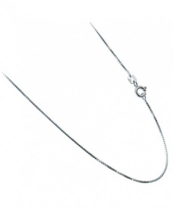 1mm Box Chain. Rhodium Plated Over .925 Sterling Silver Necklace. 16-18-20-22-24 Inches - C4121ZHL4NP