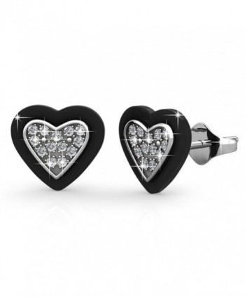 FAPPAC Ceramic Heart Stud Earrings Enriched with Swarovski Crystals - C212O2TRUUP