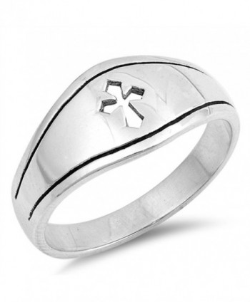 Medieval Cutout Cross Christian Promise Ring 925 Sterling Silver Band Sizes 5-12 - C5184Y7UEH9