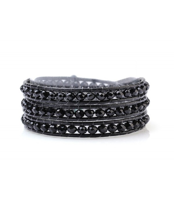 Black Wrap Bracelet Manmade Crystal Multilayer 4mm Hand Knotted Black Leather Bangle - C6123KRZ3OJ