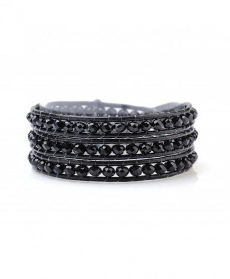 Black Wrap Bracelet Manmade Crystal Multilayer 4mm Hand Knotted Black Leather Bangle - C6123KRZ3OJ