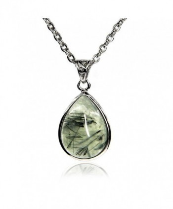 "Amandastone Natural Gemstone Prehnite Charm Pendant Necklaces 20"" - Prehnite - CD12N4WGMIJ"