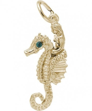 Rembrandt Under The Sea Friends Mermaid & Seahorse Charm w/ Green Synthetic Crystal - CK12KOBO435