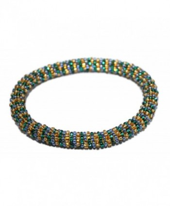 Crochet Glass Seed Bead Bracelet Roll on Bracelet Nepal Bracelet SB400 - CA1290XT9IN