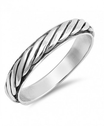 Rope Eternity Twisted Thumb Ring New .925 Sterling Silver Band Sizes 6-12 - CT187YW5XAO