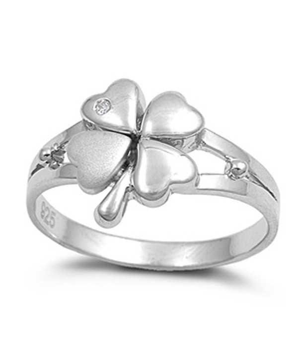 Sterling Silver Women's Lucky 4 Leaf Clover Ring Beautiful 925 Band Sizes 4-10 - CZ11GP3H7P9