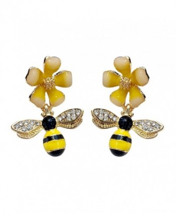 CHUYUN Crystal Bumblebee Bumble HoneyBee Bee Insect Dangle Drop Earrings for Women Kids Girls - CP184KL6ZW6