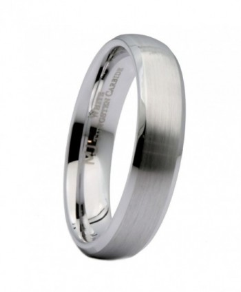 MJ 5mm White Tungsten Carbide Brushed Curved With Polished Edges Wedding Band Ring - CH12ID2UPXP