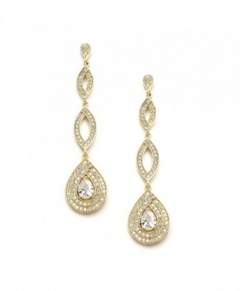 Mariell Dramatic Micro-Pave CZ Dangle Bridal Wedding Earrings with Genuine 14K Gold Plating - C2121VI7YV9
