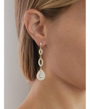 Mariell Dramatic Micro Pave Wedding Earrings in Women's Drop & Dangle Earrings