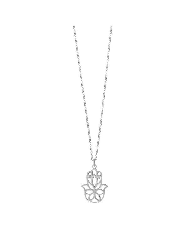 Boma Sterling Silver Hamsa Hand Necklace- 18 Inches - CW12BXADNOV