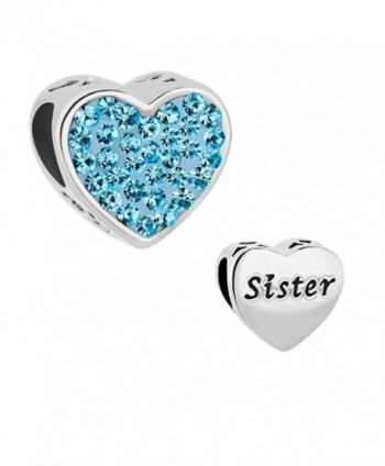 LovelyCharms Sister Heart Charm Bead For Bracelets - Blue - CV187T998U4
