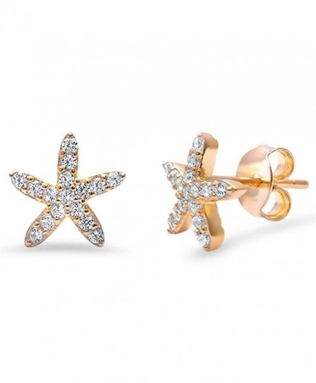 Starfish Stud Earrings Yellow Tone Rhodium 925 Sterling Silver Pave Clear White CZ Nautical - CB12IL3CWQJ