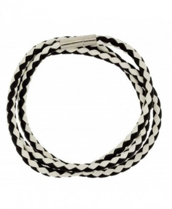 Black and White Braided Leather Bracelet- Long Leather Wrap Bracelet- 509 - CA11BZ78M9P