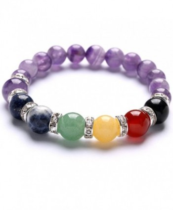 TGS Gems Beautiful Crystal Elastic Stretch Beaded Chakra Reiki Healing Bracelet 7 Chakra Mixed Combination - CY11VAVWWOL