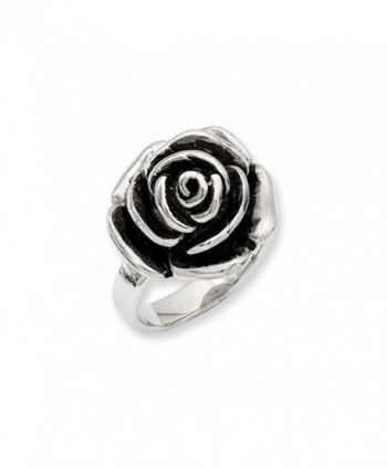 Stainless Steel Oxidized Flower Ring - C6110GD4SUV