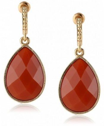 "1928 Jewelry ""Domenica"" Gold-Tone Red Persimmon Faceted Pear Shape Drop Earrings - C3111QLMAER"