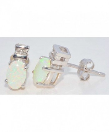 6x4mm Genuine Opal & Diamond Oval Stud Earrings .925 Sterling Silver Rhodium Finish - CJ119NE33N7