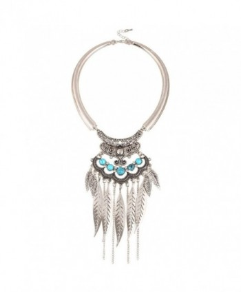 Q&Q Fashion Silver Turkey Feather Leaf Blue Stone Filigree Torque Zuni Navajo Collar Bib Necklace - CQ11Y3BRY7V