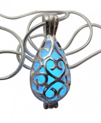 Wishing Teardrop Fairy Magical Fairy Glow in the Dark Necklace-blue-sil - CG11WNY1BFL