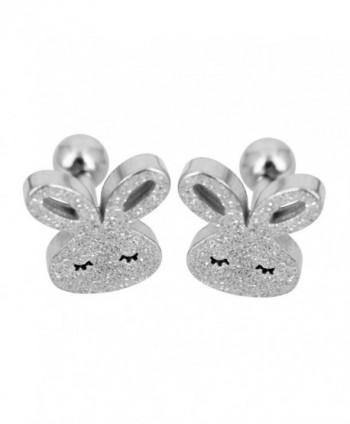 Bonnie Bunny Stainless Steel Cute Rabbit Screwback Stud Earrings - CV12EJTL54J