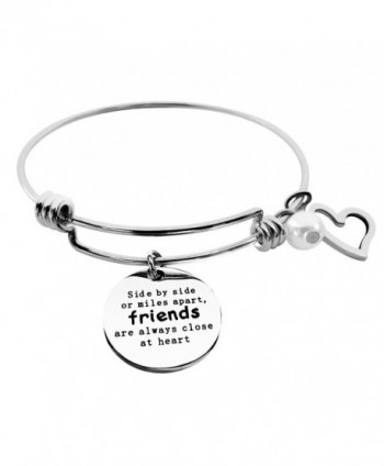 ALoveSoul Best Friends Bracelet - Side By Side Or Miles Apart Bangle - Long Distance Friendship Gifts - CD184DYCAUY