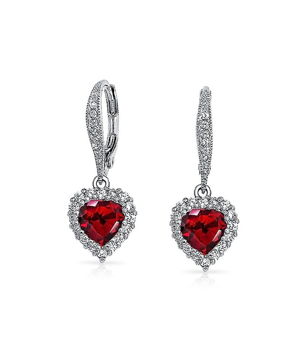 Bling Jewelry Simulated Garnet CZ Heart Leverback Earrings Rhodium Plated - CK11HHTPYR3