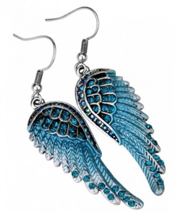 YACQ Guardian Angel Wings Dangle Drop Earrings Women Girls Biker Crystal Jewelry - blue - CV12KJCK4E7