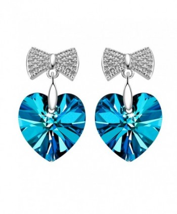 SIVERY Sterling Earrings Swarovski Crystals - Blue - CP12J3LZ8WX
