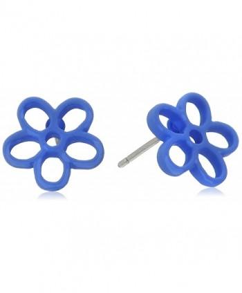 MARC BY MARC JACOBS Rubberized Black Stud Earrings - Conch Blue - C5128WYFEHL