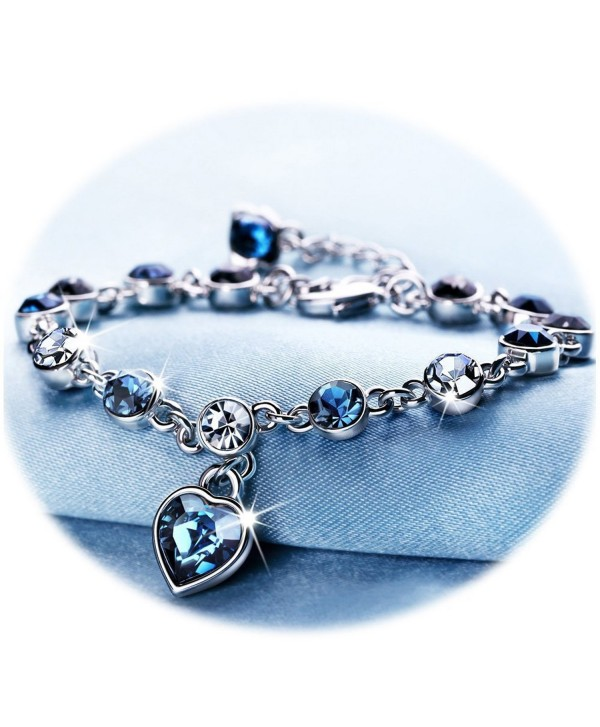 Love Heart Ocean Blue Crystal Bracelet for Women and Teens Sapphire Birthstone Charm Eternal Love Bangle - CX186IG00QU