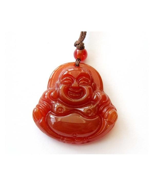Red Agate Fortune Smile Tibetan Buddhist Buddha Amulet Pendant - C8117OGGYTB