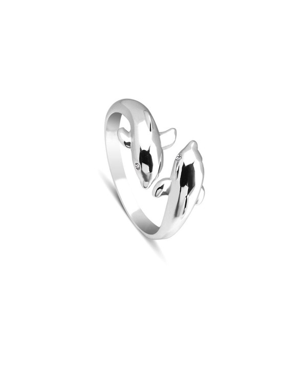 SHEGRACE Lovely Dolphin Cuff Ring 925 Sterling Silver Ring for Women- 16mm - C7184SH4WNM