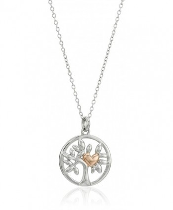 "Hallmark Jewelry Sterling Silver Two-Tone Tree of Life Pendant Necklace- 18"" - CU12MAIWV4V"