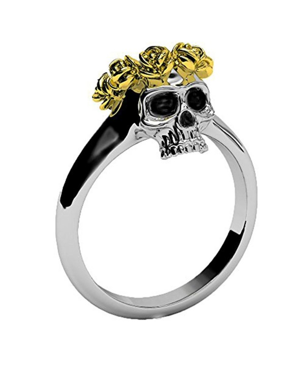 Gothic Jewelry for Women EVBEA Two Tone Dainty Skull Band with Unique Gold Rose Crown Rings - CT12NFG367A