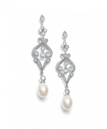 Mariell Vintage Cubic Zirconia Rhodium Scroll Bridal Earrings with Genuine Freshwater Pearl Drops - CH11ZRCSJKV