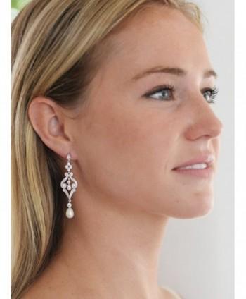 Mariell Vintage Zirconia Earrings Freshwater in Women's Drop & Dangle Earrings