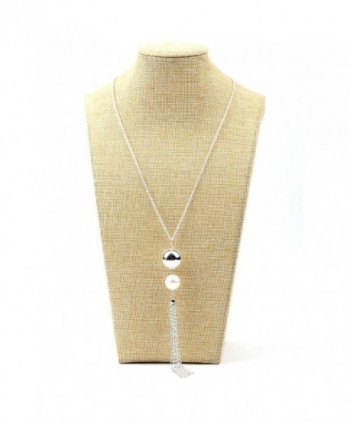 Women Necklace Fashion Alloy Plated Simulated Pearl Tassels Long Pendant Necklace - Silver - CI12GV1T1G7