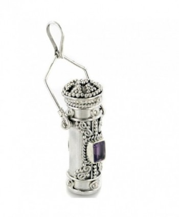 Tall Sterling Silver Moonstone- Amethyst- Garnet- or Peridot Poison Bottle Pillbox Urn Pendant - CQ1117JJW9Z