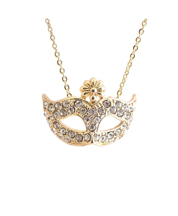 chelseachicNYC Crystal Masquerade Mask Necklace - CL12G8K0YT9