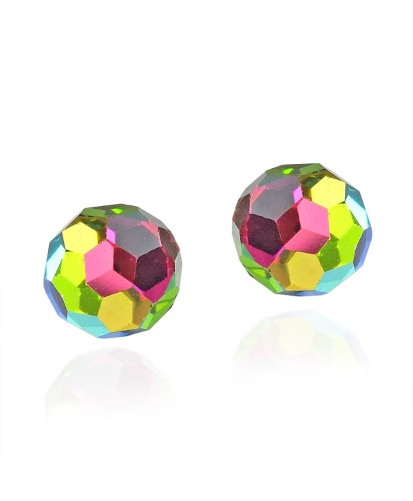Rainbow Fashion Crystal Ball .925 Sterling Silver Stud Earrings - CE11O66V4DN