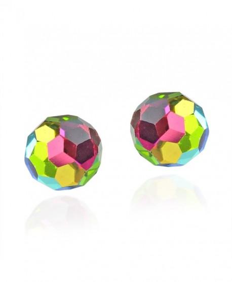 Rainbow Fashion Crystal Ball .925 Sterling Silver Stud Earrings - CE11O66V4DN