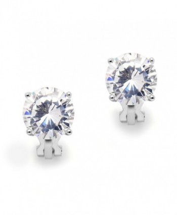 Mariell 3 Carat Cubic Zirconia Clip-On Stud Earrings - Bold 9.5mm Round-Cut Solitaires - Platinum Plated - C71208IQ0CR