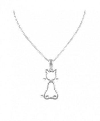 "Sterling Silver Kitty Cat Necklace 18"" - CU12F8QVR4P"