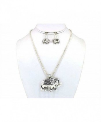 Turtle Sea Horse Elephant Owl Antique Textured Pendant Necklace Set with Earrings Jewelry Nexus - C811DM4JH7P