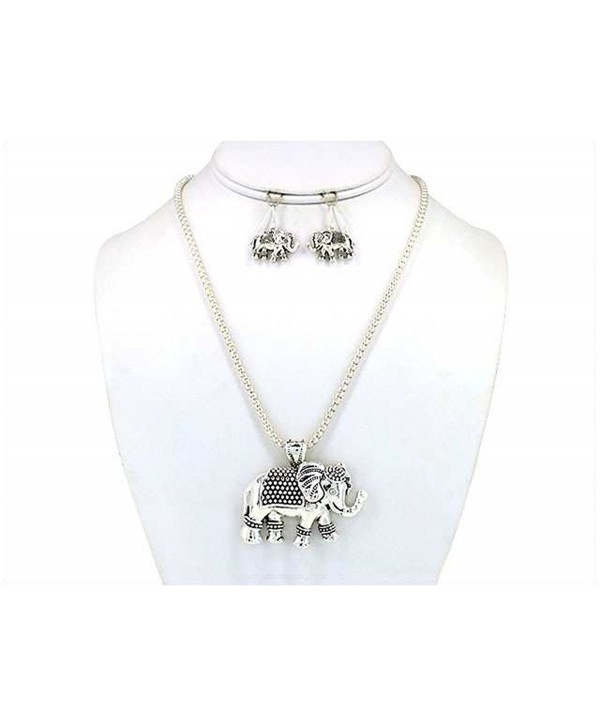 Turtle Sea Horse Elephant Owl Antique Textured Pendant Necklace Set with Earrings Jewelry Nexus - C811DM4JH7P