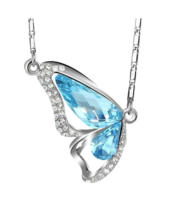 EleQueen Women's Silver-tone Butterfly Pendant Necklace Adorned with Swarovski Crystals - Aquamarine Color - CL11R3G0WQX